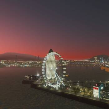 朝焼けに染まる港町